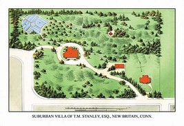 Suburban Villa of T.M. Stanley, Esq., New Britain, Conn. by J. Weiderman... - $19.99+