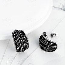 TANGKA 2017 new European and American high-grade tin alloy leaves earrings bakin image 3