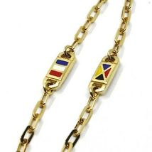 18K YELLOW GOLD CHAIN NECKLACE OVAL LINK 2 MM, 20 INCHES, NAUTICAL ENAMEL FLAGS  image 3