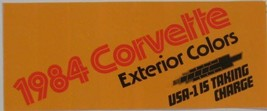 1984 Chevy Corvette Exterior Color Chip Brochure, Two Tone Original 84 GM - $8.54
