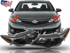 Fit For 2012 2013 2014 Toyota Camry Headlights Headlamps Black Housing P... - $186.99