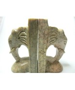 """Hand Carved Elephant Book Ends Pink Gray Genuine Soap Stone 5.7/8"""" x 3"""" ... - $53.97"""