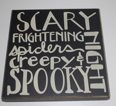 """Halloween Wall Art Wood Sign Black White 10""""x10""""x1.5"""" Words Plaque by Co... - $14.80"""