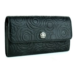 Authentic CLATHAS Flowers Theme Black Leather Bifold Envelope Long Walle... - $117.81