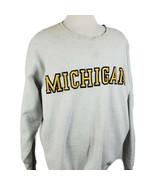 Vintage University of Michigan Sweatshirt Distressed 2XL Gray Crew Sewn ... - $34.99