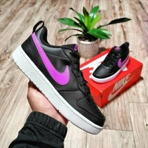 Nike Court Borough 2 Low Womens Size 5.5 (4Y) Black Leather Shoes - $79.19