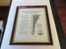 "Once Again PHarmacists Top Gallup Pole , Plaque , 9"" x 11"" , Rx , Pharmacy ,1992 image 1"