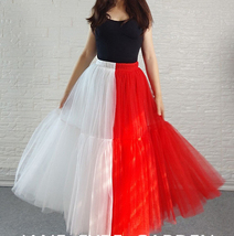 Red White Long Tulle Skirt Outfit Contrast Color Tutu Skirt Plus Size High Waist image 1