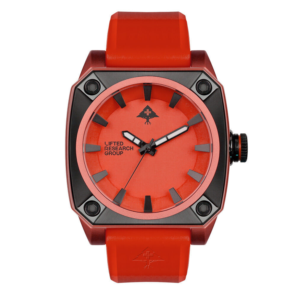 LRG Lifted Research Group Red Black Brushed Aluminum 45mm Gauge Watch NIB