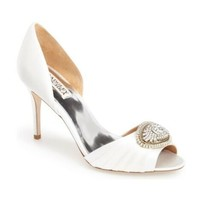 Badgley Mischka Melody White Satin Women's Evening High Heels Pumps Size... - €91,25 EUR
