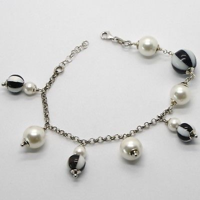 925 STERLING SILVER BRACELET WITH BICOLOR BLACK ONYX & WHITE AGATE, PEARLS