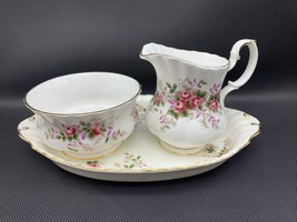 Mini Creamer & Open Sugar with Tray Lavender Rose by ROYAL ALBERT 20-2403 - $51.77