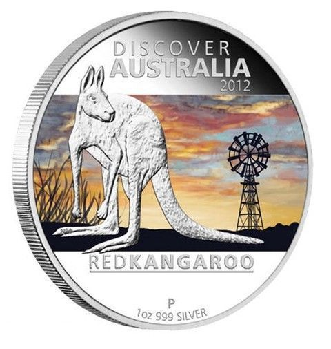 2012 1 Ounce Proof .999 Fine Silver Discover Australia - Red Kangaroo Coin N 179