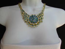 Nuevo Mujer Grande Dorado Flor Tendencia Jewelry Azul Diamantes Collar image 12
