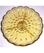 Vintage Topaz Color Depression Pressed Solid  Heavy Glass Peanut Dish - ... - $22.00
