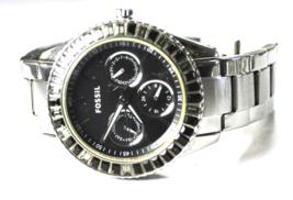 Fossil Stella Black & Clear Swarovski Crystal Bezel Wristwatch 38mm Cale... - $29.69