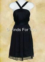 J Crew Women's Halter Sinclair Dress Silk Chiffon Navy Cocktail Sz 4 49388 - $27.59