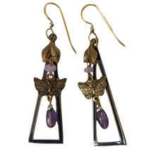 Vintage Butterfly Earrings Triangle Triangles Purple Layered Beaded Hook... - $22.97