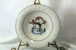 GEI Snowman Holly Rim Rimmed Soup Bowl GC16 - $4.15