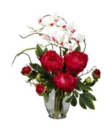 Nearly Natural 1175-RD Peony and Orchid Silk Flower Arrangement, Red - £46.28 GBP