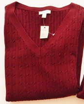 Talbots Petites Sweater Cable Knit V-Neck 100% Cotton L/S Pullover Wine Sz P NEW - $37.95