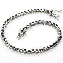 Bracelet Tennis, Argent 925, Zircone Cubique Noir, Taille Brillant, 3 MM - $39.65+