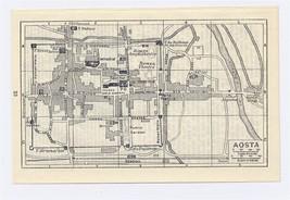 1937 ORIGINAL VINTAGE CITY MAP OF AOSTA / ITALY - $9.50