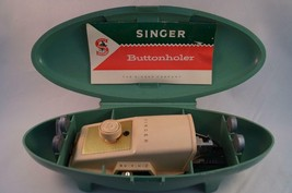 Vintage Singer Buttonholer 1960's Green Case Button Holer Hole Maker - $14.84