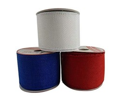 Patriotic Assortment Pack of 3 Burlap Wired Red White Blue Fabric 2 1/2 Inch Wid
