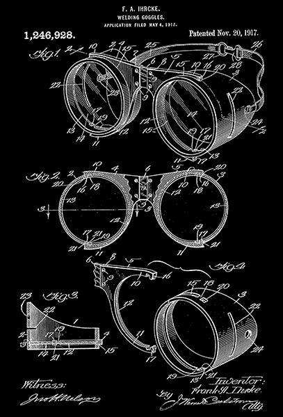 Primary image for 1917 - Welding Googles - F. A. Ihrcke - Patent Art Poster