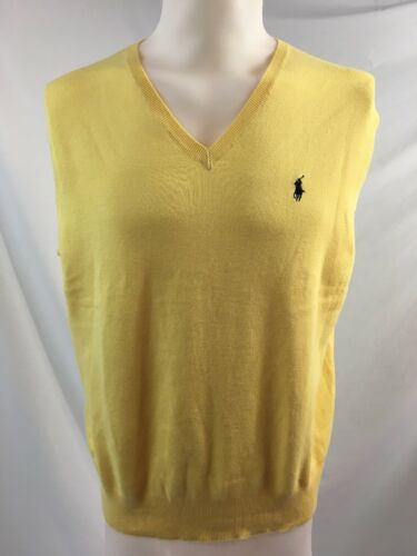 Primary image for Ralph Lauren Yellow Cotton V Neck Sweater Vest, Men's Size L