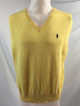 Ralph Lauren Yellow Cotton V Neck Sweater Vest, Men's Size L - $18.99