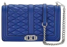 Rebecca Minkoff Quilted Love Crossbody Bag Leather Royal Blue - £125.69 GBP