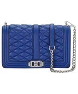 Rebecca Minkoff Quilted Love Crossbody Bag Leather Royal Blue - £127.20 GBP