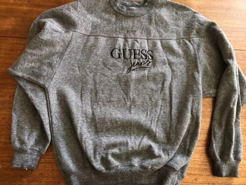 Vintage 90s GUESS Spellout Sweatshirt Made in USA Super Sportswear Large Grey