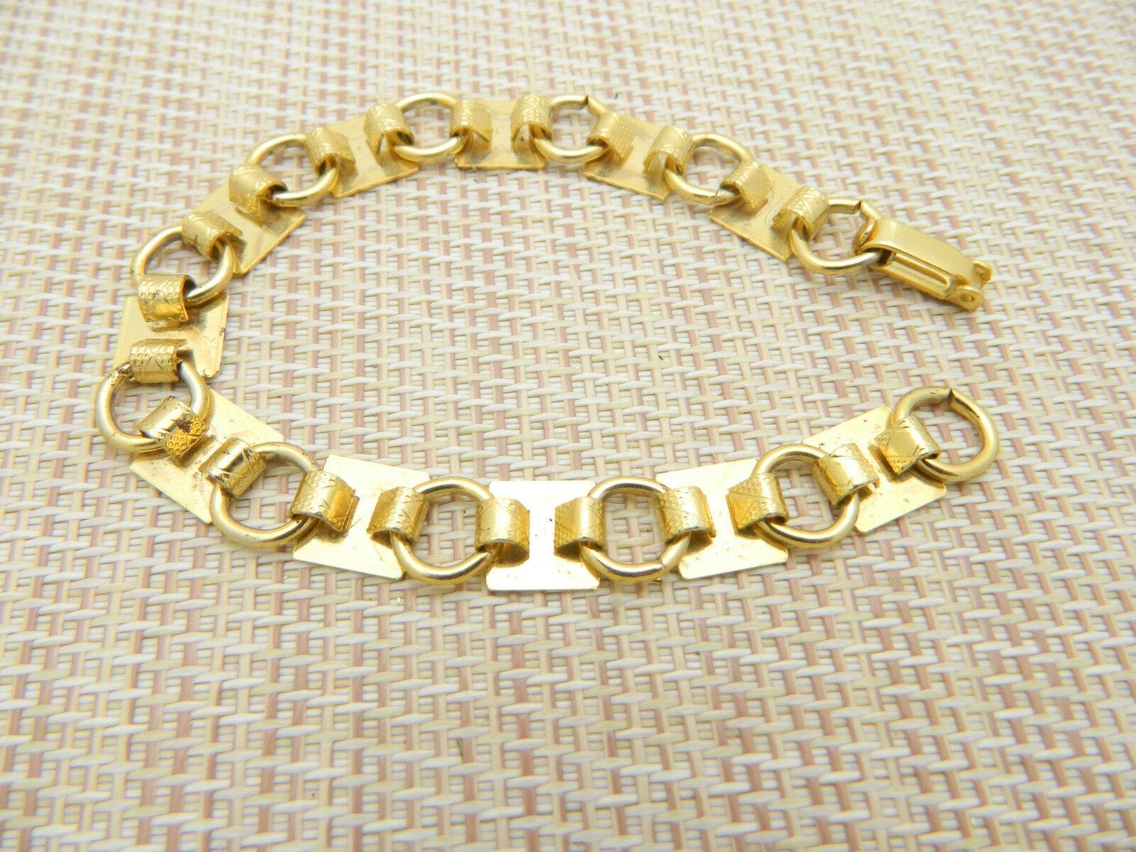 Gold Tone Square Diamond Harlequin Chain Link Bracelet Vintage