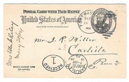 1904 UY3 1c Grant Postal Reply Card Fort Wayne Duplex Carlisle Receiving... - $6.69