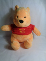 Walt Disney World Winnie the Pooh Bear Sitting Soft Plush Red Shirt - $9.65
