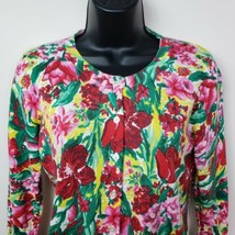Talbots Womens Cardigan Sweater SP Floral Green Red Pink Button Front - $14.51