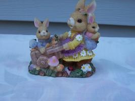 Bunny and Babies with Wheelbarrel Scene Figurine - $4.99
