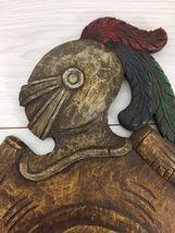 Antique 1900 German black forest carved wood shield medieval knight shop sign image 11