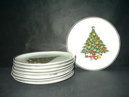 Mount Clemens Pottery Christmas tree salad desert cookie plates 22 kt go... - €4,85 EUR