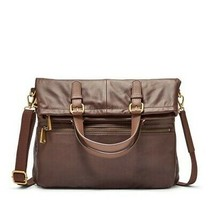 New Fossil Explorer Fold Over Tote Bag Espresso Nwt Orginal - $135.80