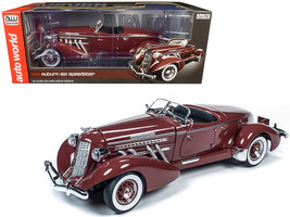 1935 Auburn 851 Speedster Plum Burgundy 1/18 Diecast Model Car by Autoworld - $172.88