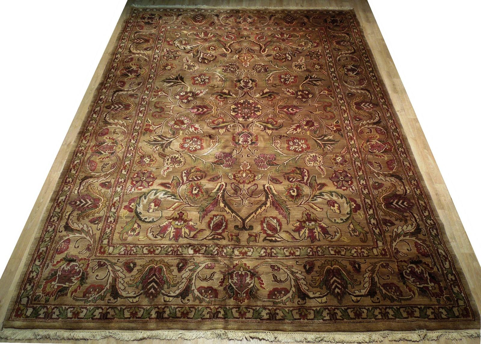 Densely Knotted Genuine Handmade 9 x 13 Brown Jaipur Wool Rug