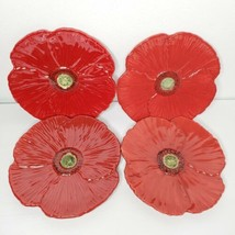 """Set of 4 Red Poppy Fleur Rouge Ambiance by Nanette Vacher 8"""" Salad Plate... - $39.99"""