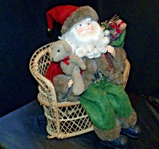 Christmas Santa Sitting on a Wicker Bench AA-191920 Collectible image 2