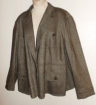 Talbots Woman 22W 3X Blazer NEW Olive Green Tweed Wool Blend Jacket Career Plus - $22.99