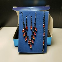 Avon 2007 Red Chevron 3 Piece Gift Set  Original Box Necklace Earrings B... - $12.19