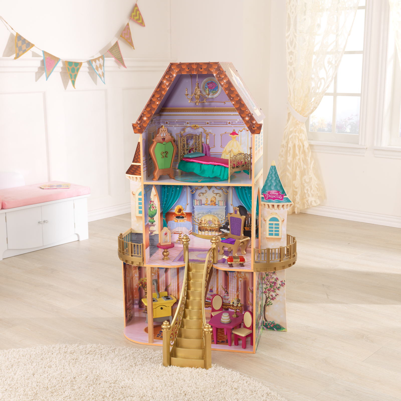 Disney Princess Belle Enchanted Dollhouse w/Furniture and Accessories image 3